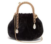Maria Luisa Chain-handle Velvet Clutch