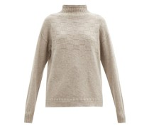High-neck Basketweave Merino-wool Blend Sweater