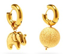 Mismatched Elephant & 24kt Gold-plated Earrings