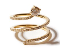 Grass Seed Diamond & 18kt Gold Spiral Ring