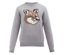 Fox-intarsia Wool Sweater
