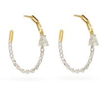 Diamond & 18kt Gold Chain Hoop Earrings