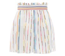 Paperbag-waist Striped Mesh Shorts