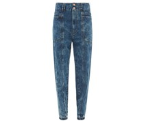 High-rise Paperbag-waist Tapered-leg Jeans