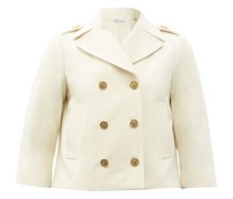 Cropped Double-breasted Wool-blend Peacoat