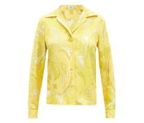 Capri Paisley-print Silk-satin Shirt