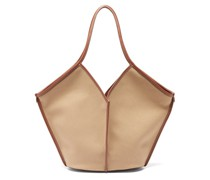 Calella Leather-trimmed Organic-cotton Tote Bag
