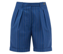 The Husband Pleated Pinstriped Wool Shorts