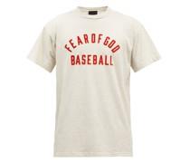Baseball Flocked-logo Cotton-jersey T-shirt