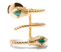 Serpent Diamond, Malachite & 9kt Gold Earrings