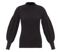 Puff-sleeved Cashmere Ribbed Sweater