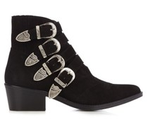 Buckle Suede Ankle Boots