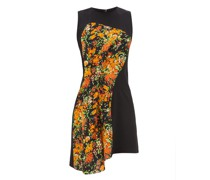 Floral-print Panel Crepe Dress