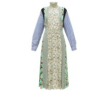 Sable Patchwork-print Pleated Crepe Dress