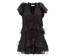 Mae Dot-embroidered Ramie-voile Mini Dress