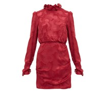 Rina Ruffled Silk-blend Jacquard Mini Dress