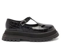 Aldwych Crocodile-effect Leather T-bar Flats