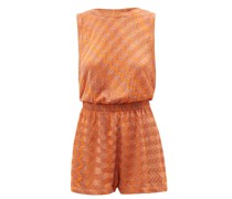 Zigzag-jacquard Knit Playsuit