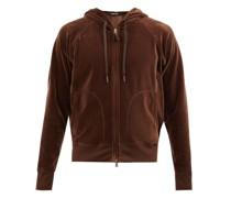 Zipped Cotton-blend Velour Hooded Sweatshirt