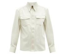 Point-collar Zip-front Cotton-twill Shirt
