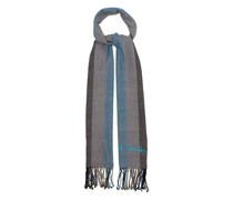 Logo-embroidered Striped Cotton-muslin Scarf