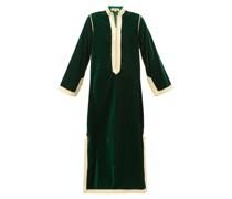 Alia Woven-trim Velvet Tunic Dress