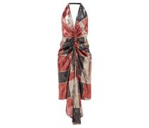 Geometric Ruched Sequinned Halterneck Dress