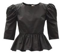 Seva Puff-sleeved Cotton-poplin Top