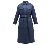 Marigold Belted Quilted Cotton-blend Satin Coat