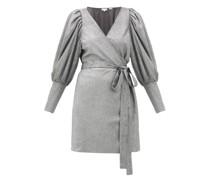 Frankie Puff-shoulder Metallic-jersey Wrap Dress