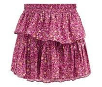Ruffled Floral-print Cotton-voile Mini Skirt