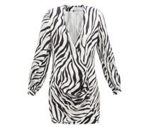 Draped Zebra-print Satin Mini Dress