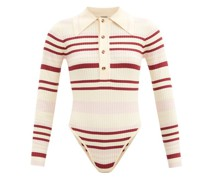 Penny Striped Ribbed-knit Bodysuit
