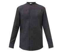 Ollie Band-collar Linen-flannel Shirt