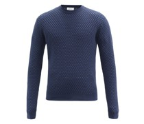 Basket-weave Cotton-blend Sweater