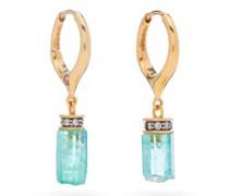 Emerald 18kt Gold, Diamond, Sapphire Drop Earrings