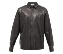 Patch-pocket Faux-leather Shirt