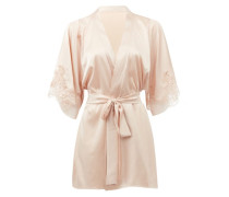 Signature Lace-trimmed Silk-blend Satin Robe