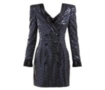 Sequinned Satin-trimmed Tuxedo Mini Dress