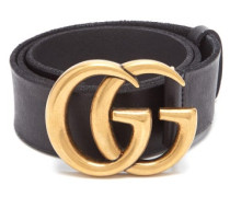 Gg-logo Raw-edge Leather Belt
