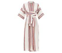 Charita V-neck Striped Linen Wrap Dress