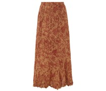 Jouvencelle Floral-print Pleated Cotton Midi Skirt