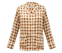 Gingham Silk-blend Satin Shirt