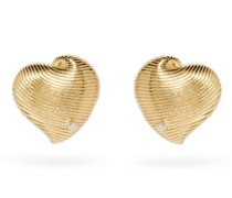 Diamond & 9kt Gold Heart Earrings