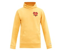 Felted-patch Cotton-jersey Hooded Sweatshirt