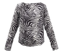 Yamagata Draped Zebra-print Silk Blouse