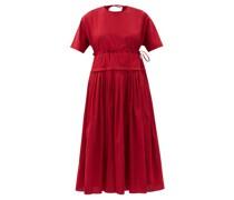 Pleated-waist Cotton-gauze Midi Dress