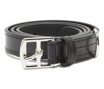 Buckled Topstitched Leather Belt