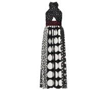 Polka-dot Halterneck Silk-blend Dress