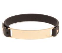 Logo-engraved Plaque Leather Bracelet